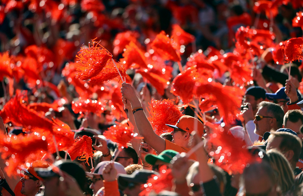 . Fans cheer in a sea of orange during the first quarter.  The Denver Broncos vs. The New England Patriots in an AFC Championship game  at Sports Authority Field at Mile High in Denver on January 19, 2014. (Photo by Helen Richardson/The Denver Post)