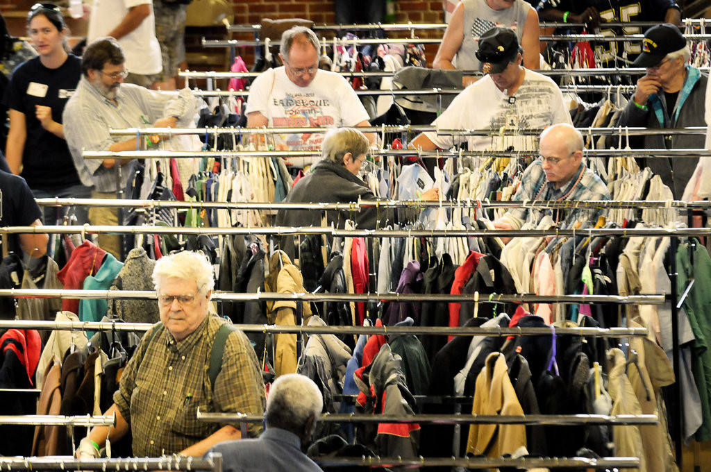 . Racks of donated clothing were available for free to the hundreds of veterans who attended the Metro Veterans StandDown event. (Pioneer Press: Ben Garvin)