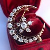 1.40ctw Victorian Rose Gold Crescent and Star Ray Brooch/Pendant 0