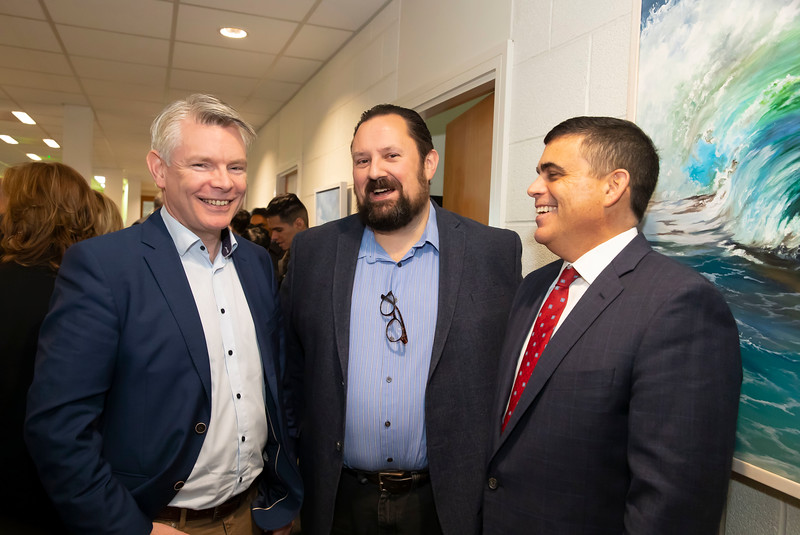 15/11/2019. FREE TO USE IMAGE. Pictured at the The official opening of the ArcLabs Research & Innovation Centre WIT extension, at Carriganore, Co Waterford. Pictured are David Byrne UPMC, Larry Breen Routematch and Scot Stevens UPMC. Picture: Patrick Browne