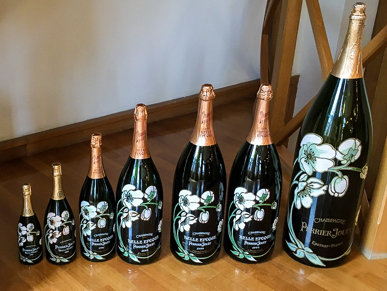 Hand-painted Moet and Chandon bottles