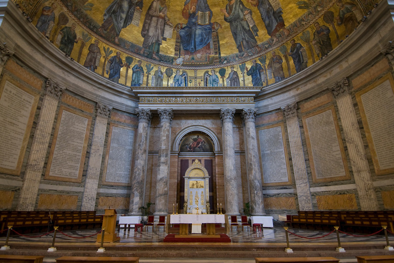 The altar at  Saint Paul Outside the Walls in Rome, Italy