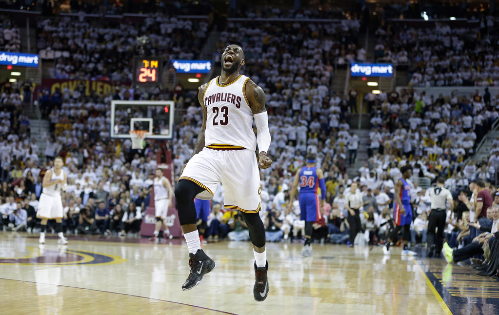 . Cleveland Cavaliers\' LeBron James reacts in the first half in Game 2 of a first-round NBA basketball playoff series against the Detroit Pistons, Wednesday, April 20, 2016, in Cleveland. The Cavaliers won 107-90.(AP Photo/Tony Dejak)