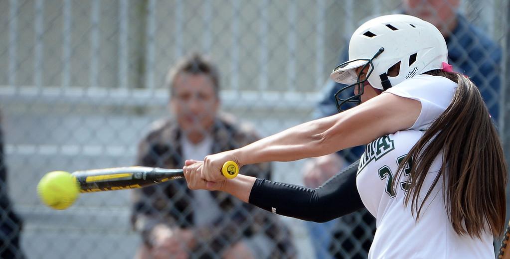 . Bonita\'s Veronica Ortega singles in the first inning of a prep softball game at Los Flores Park in La Verne, Calif., on Thursday, March 27, 2014. Bonita won 6-3. (Keith Birmingham Pasadena Star-News)