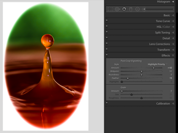Creating a hard transition by moving the Feather Slider to the left