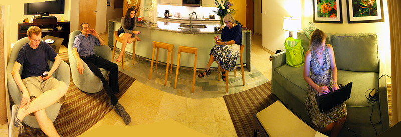 The Family gathered in the Hotel room sitting area