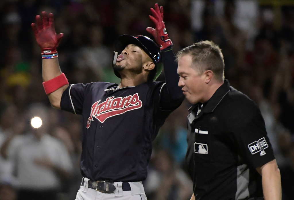 . CORRECTS CINCINNATI TO CLEVELAND AND ADDS MINNESOTA TWINS - Cleveland Indians\' infielder Francisco Lindor celebrates a home run against the Minnesota Twins in the fifth inning of game one of a two-game MLB Series at Hiram Bithorn Stadium in San Juan, Puerto Rico, Tuesday, April 17, 2018. (AP Photo/Carlos Giusti)