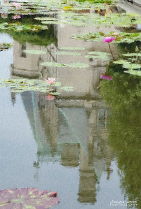 Biltmore House Reflection in Water Lily Pond - Pastel Chalk Filter