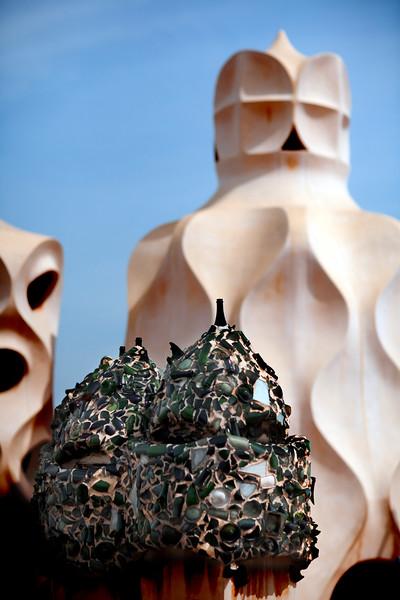 Chimneys, Mila House (by Gaudi), town of Barcelona, autonomous commnunity of Catalonia, northeastern Spain