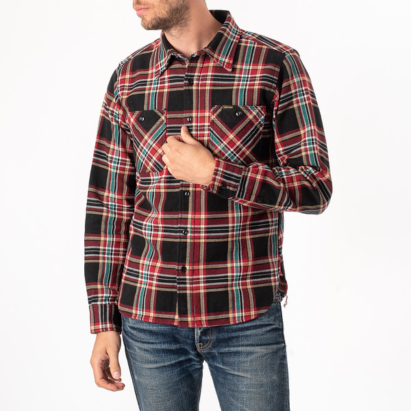 Black Crazy Check Ultra Heavy Flannel Work Shirt-3911.jpg