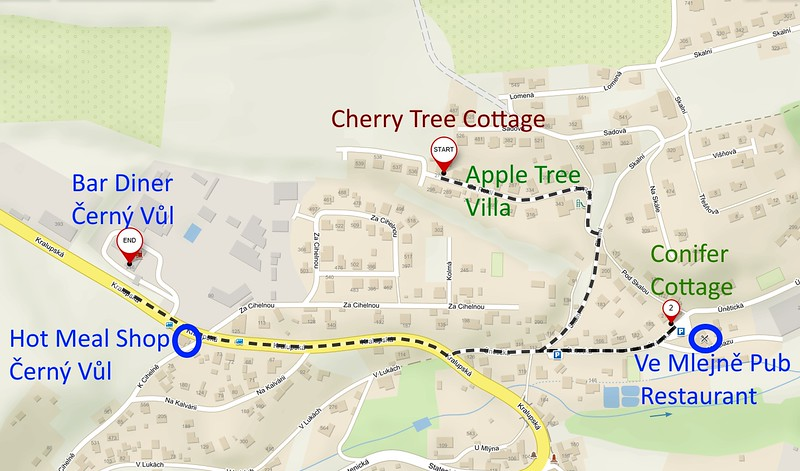 Directions to Motel from Cherry Tree Cottage 1km