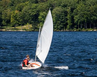 Sailing on Pleasant Lake, NH, August 2017