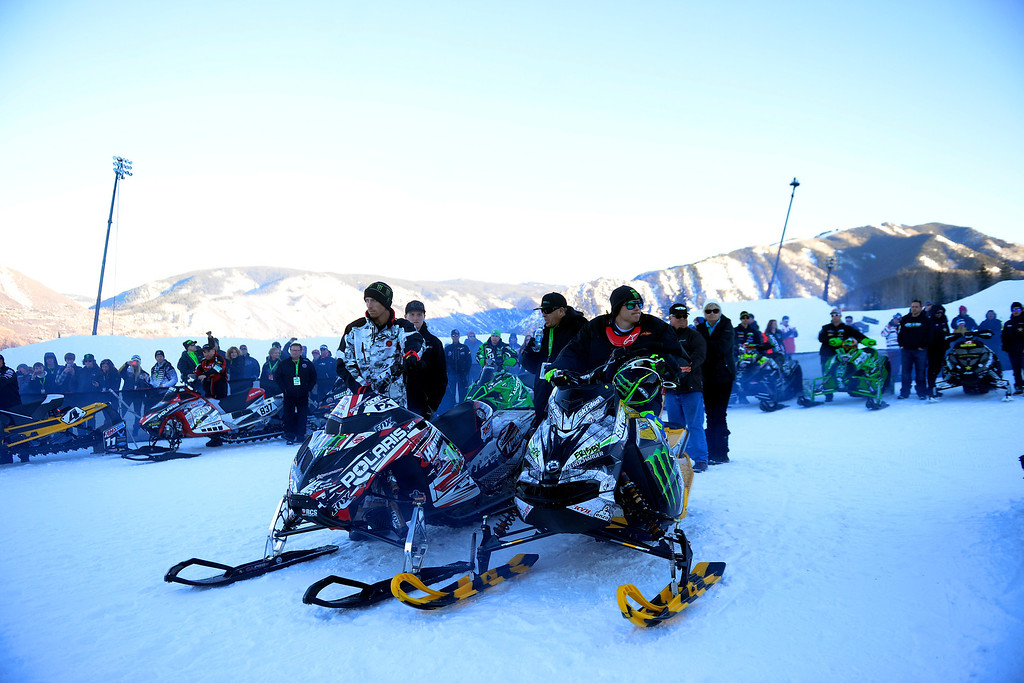 . ASPEN, CO - JANUARY 25: Fellow riders rev their engines as they celebrate the life of Caleb Moore, who was killed in the snowmobile freestyle event at the 2013 X Games Aspen. X Games Aspen at Buttermilk on Friday, January 25, 2014. (Photo by AAron Ontiveroz/The Denver Post)