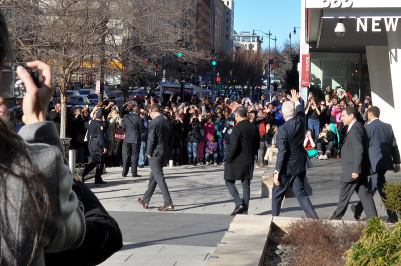 President Bill Clinton outside of the Newseum
