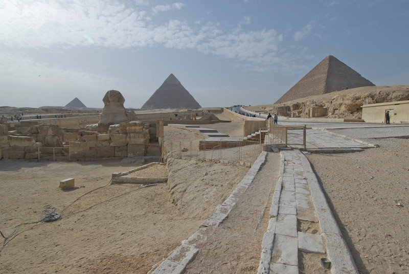 Wide shot of the Pyramid Complex - Giza, Egypt
