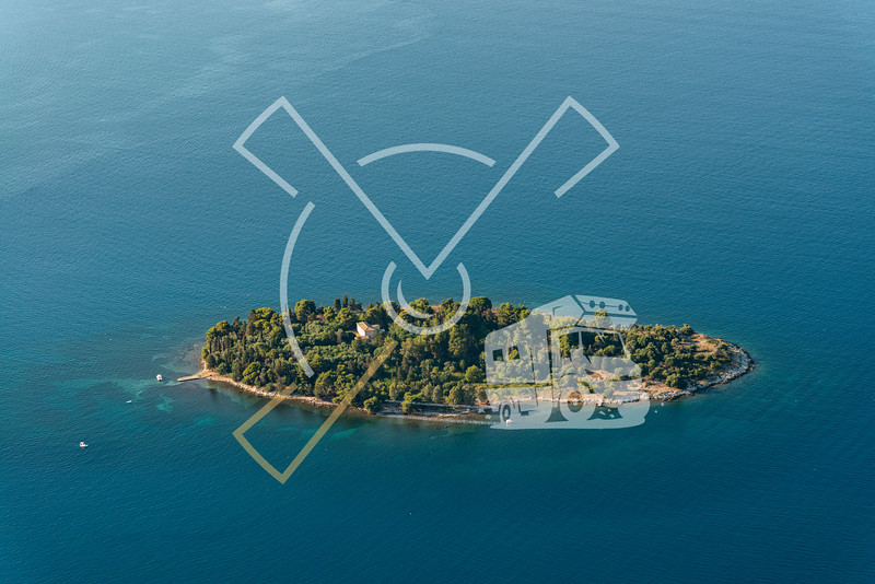 Aerial image of Lazaretto Island near Corfu.
