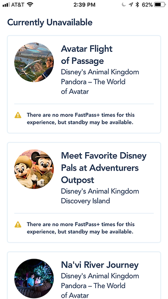 No FastPass+ for Pandora attractions