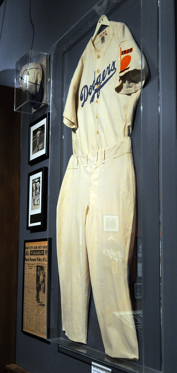 ". A jersey worn by Babe Ruth when he was a coach for the Brooklyn Dodgers is included in the ""Baseball!\"" exhibit.The Exhibition opens April 4, 2014 at the Ronald Reagan Presidential Library and Museum.  Running through September 4, 2014, Baseball is a 12,000 square foot exhibition featuring over 700 artifacts, including some of the rarest, historic and iconic baseball memorabilia.  (Photo by Dean Musgrove/Staff Photographer)"