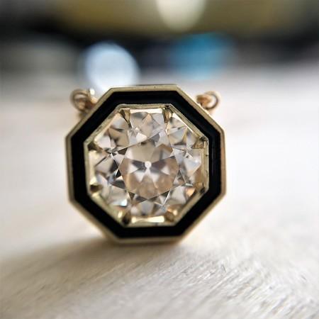 1.36ct Old European Cut Diamond, in JbyG Hex and Enamel Pendant Setting