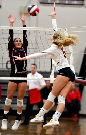 11/14/2019 Mike Orazzi | StaffrSt. Joseph High School's Katie Spangenberg (5) during the Class L Second Round Girls Volleyball Tournament against Bristol Central at BCHS. rr