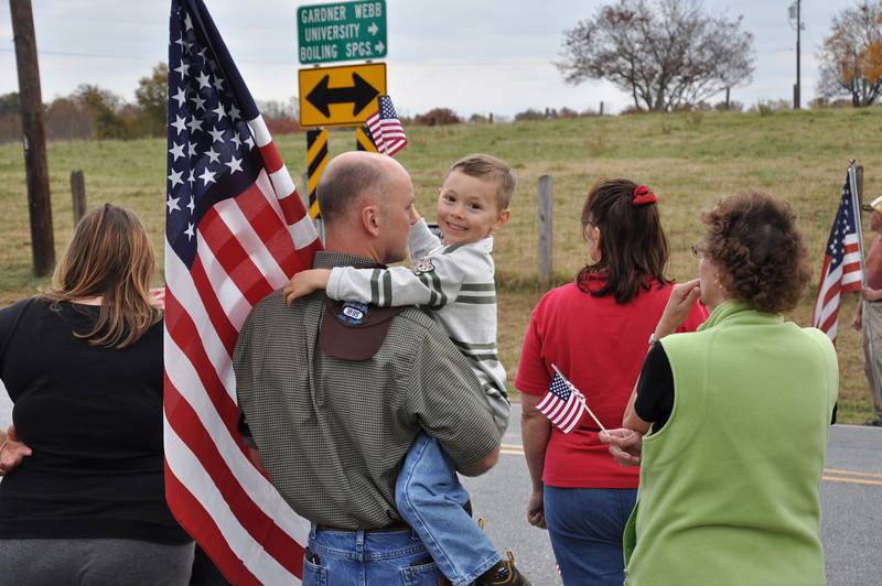 Gabriel Eiben and son Benjamin celebrate the life and service of Sgt. Newman