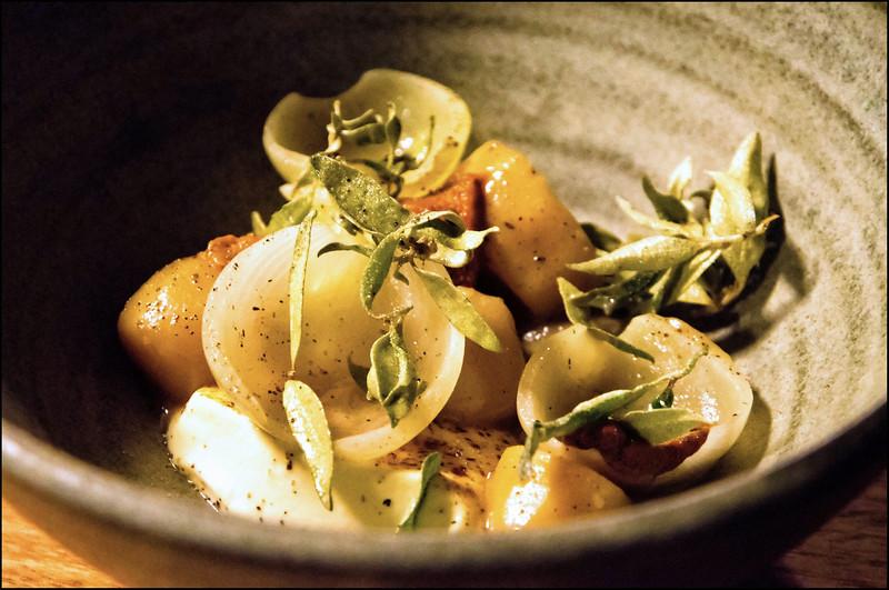 Pyengana custard + onions soured in whey, Jerusalem artichokes, uni + kipfler potatoes