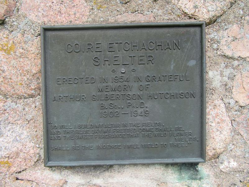 Hutchison Memorial Hut Plaque