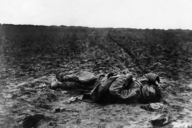 . A lone wounded Austrian soldier left on the field of battle during World War I in an undated photo. (AP Photo)