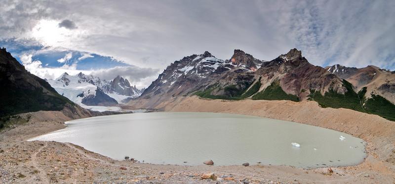 Lake Torre near El Chalten under cerro Torre, 3102m