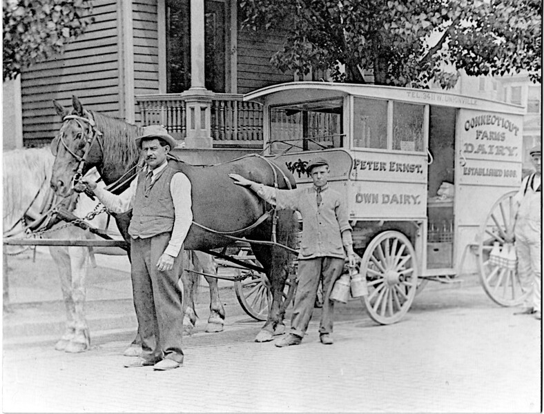 The Connecticut Farms Dairy Farm was about 17 acres between Balmoral Ave. and Tyler Ave from Stuyvesant Ave. to about the back of Biertuempfel park. The business was established in 1889 by Peter Ernst and had about 150 cows. In the photo from left to right are Peter Ersnt, his Son in Law Ed Ash and Frank Issett.  The photo was provided by Frank's daughter, May Ash Ong and taken about 1910.