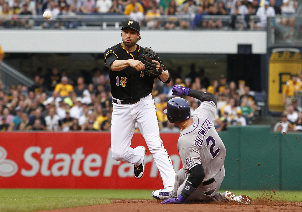 . PITTSBURGH, PA - JULY 18:  Neil Walker #18 of the Pittsburgh Pirates turns a double play in the first inning against Troy Tulowitzki #2 of the Colorado Rockies during the game at PNC Park on July 18, 2014 in Pittsburgh, Pennsylvania.  (Photo by Justin K. Aller/Getty Images)