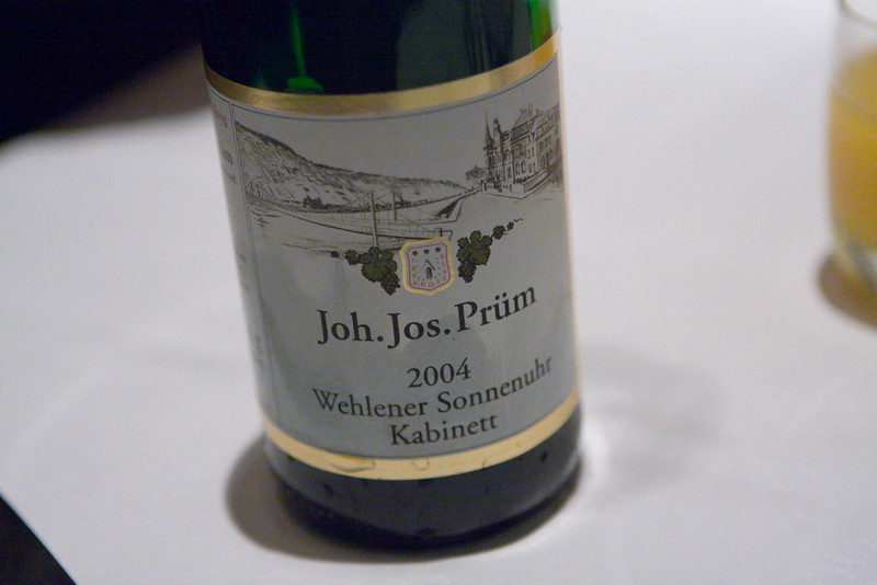 We had a nice German riesling.  It was clean and refreshing as all rieslings should be.  I like riesilings with Chinese food because the food tends to have some sweetness and the wine brings that flavor out.