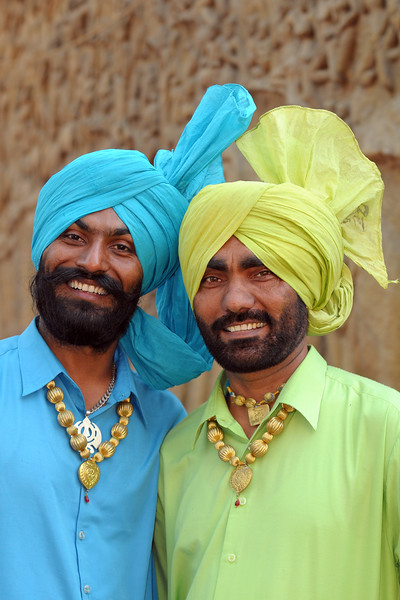 Rajan Singh and Sulchwinder Singh from Batala, Punjab. The Police band group near the open theatre called Chaupal at Suraj Kund Mela 2009 held in Haryana (outskirts of Delhi), North India. The Suraj Kund Mela is an annual fair held near Delhi. Folk dances, handicrafts and a lot of fun.
