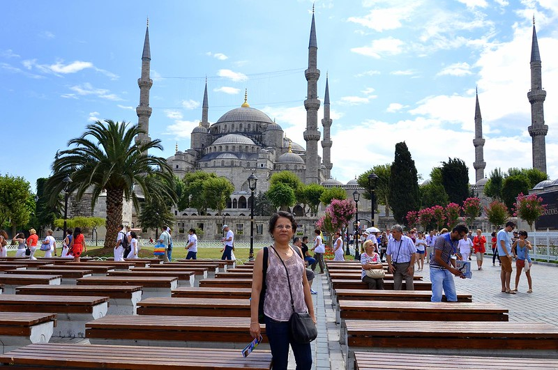 In front of the Blue Mosque