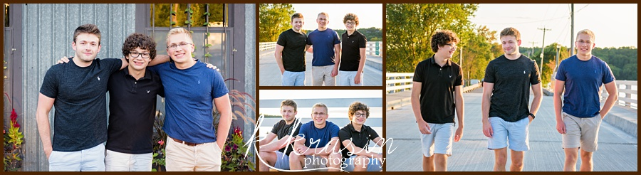 Collage of photos of three brothers