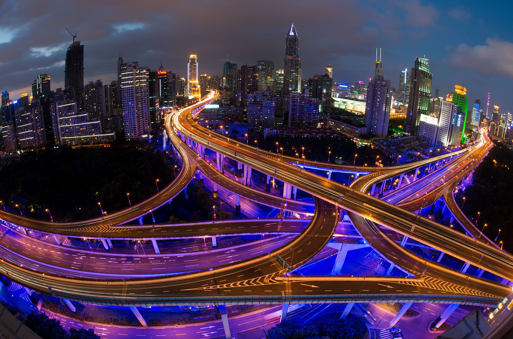 . This long exposure picture shows vehicles on roads during rush hour on the eve of the National Day holidays in Shanghai on September 30, 2014. According to local media, police checkpoints will be set up at highways, elevated roads and business hubs to tackle drunk driving during the National Day holiday.  AFP PHOTO / JOHANNES  EISELE/AFP/Getty Images