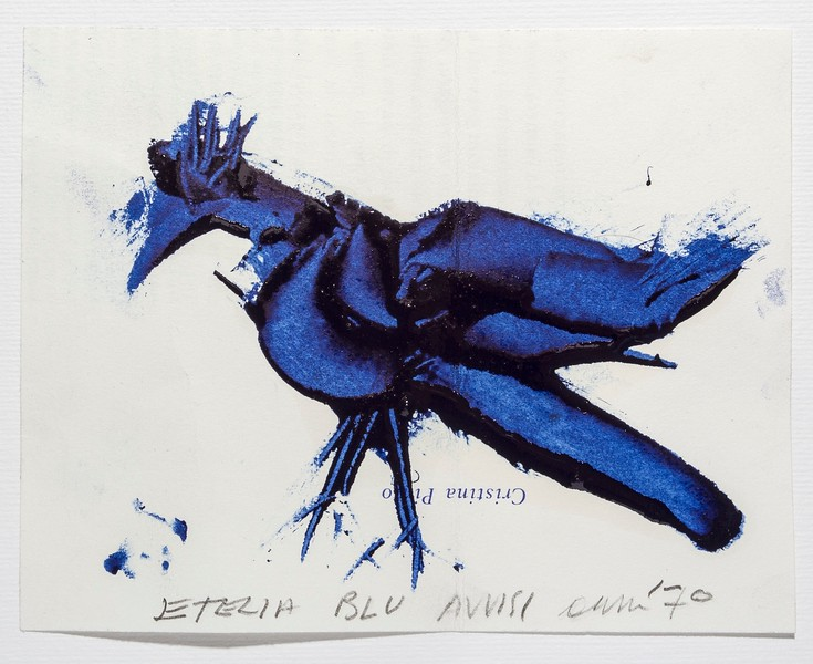 In order to evaluate the consistency and tone of lettrepress inks, at the Tallone studio, it is customary to trace the figure of the little bird with a spatula, which permits to reveals the intrinsic characteristics of the inks, in all its hues and gradations.