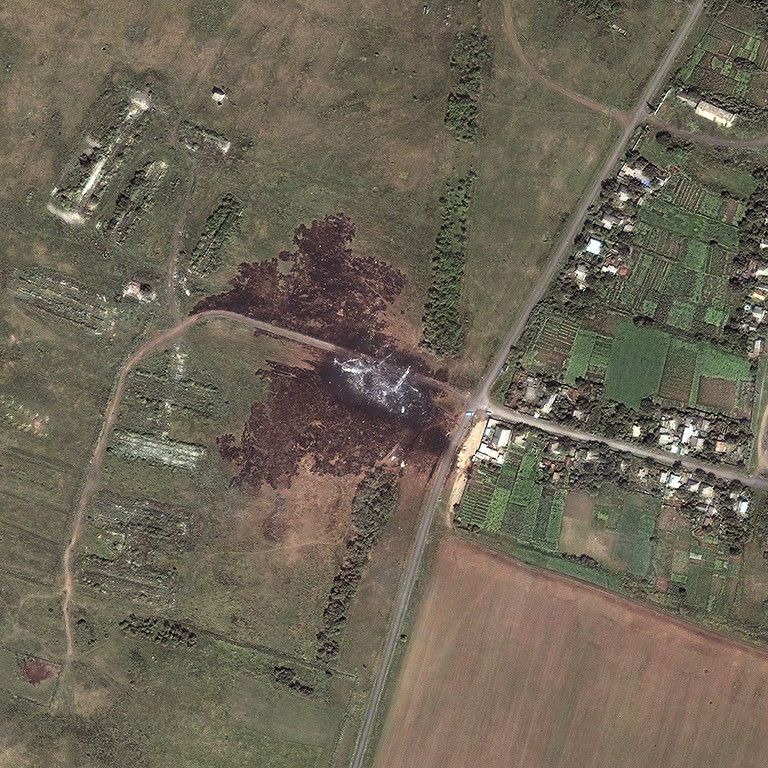 . This satellite image shows the Malaysia Airlines MH17 crash site in Ukraine. (Courtesy of DigitalGlobe)