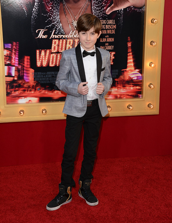 ". Actor Mason Cook attends the premiere of Warner Bros. Pictures\' ""The Incredible Burt Wonderstone\"" at TCL Chinese Theatre on March 11, 2013 in Hollywood, California.  (Photo by Jason Merritt/Getty Images)"