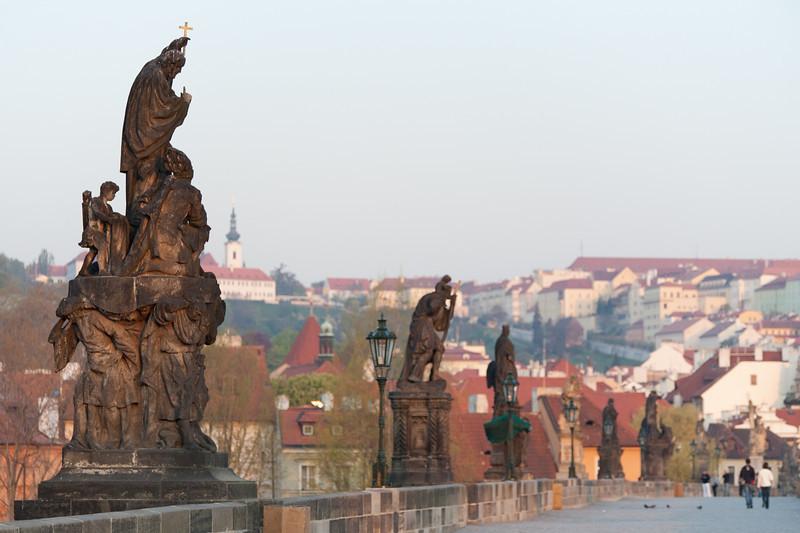 Row of statues in Charles Bridge - Prague, Czech Republic