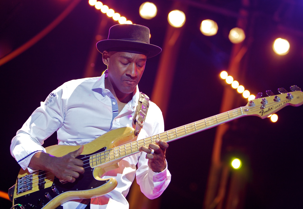 Marcus Miller at Jazz à Juan 2010 3<br /> Marcus Miller and the Philharmonic Orchestra of Monte-Carlo  in concert at Jazz à Juan 2010