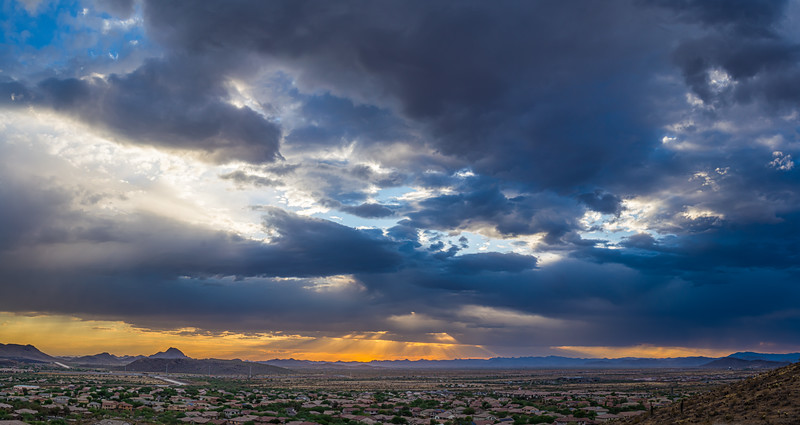 Panorama of colorful clouds at sunset