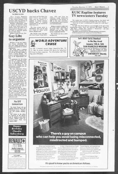 Daily Trojan, Vol. 62, No. 56, December 17, 1970