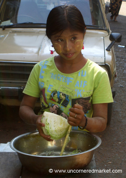 Burmese Girl with Cabbage - Rangoon, Burma (Yangon, Myanmar)