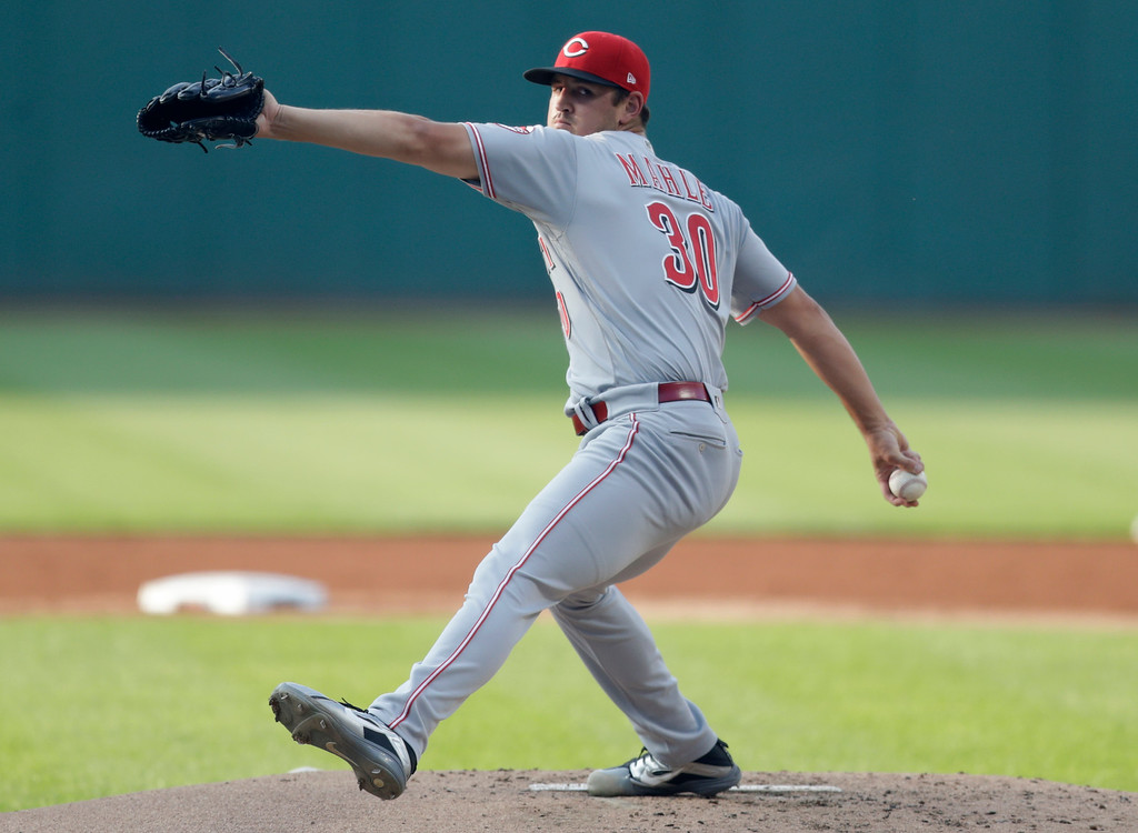 . Cincinnati Reds starting pitcher Tyler Mahle delivers in the first inning of a baseball game against the Cleveland Indians, Wednesday, July 11, 2018, in Cleveland. (AP Photo/Tony Dejak)
