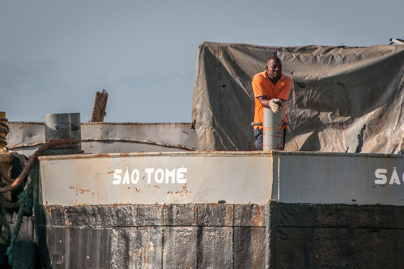 Man in port at Sao Tome, Sao Tome and Principe