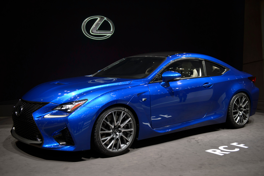. The new Lexus RC F is  on display  at the 84. Geneva International Motor Show in Geneva, Switzerland, Tuesday, March 4, 2014.  (AP Photo/Keystone,Martial Trezzini)