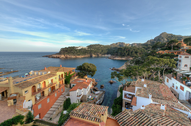 Beautiful view of the ocean from roof deck in Costa Brava, Spain