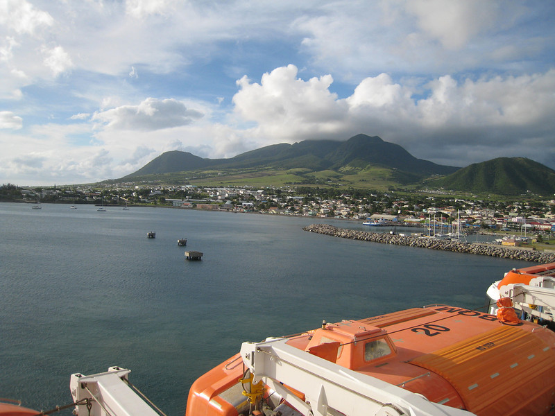 A shot of St. Kitts and the harbor from our balcony