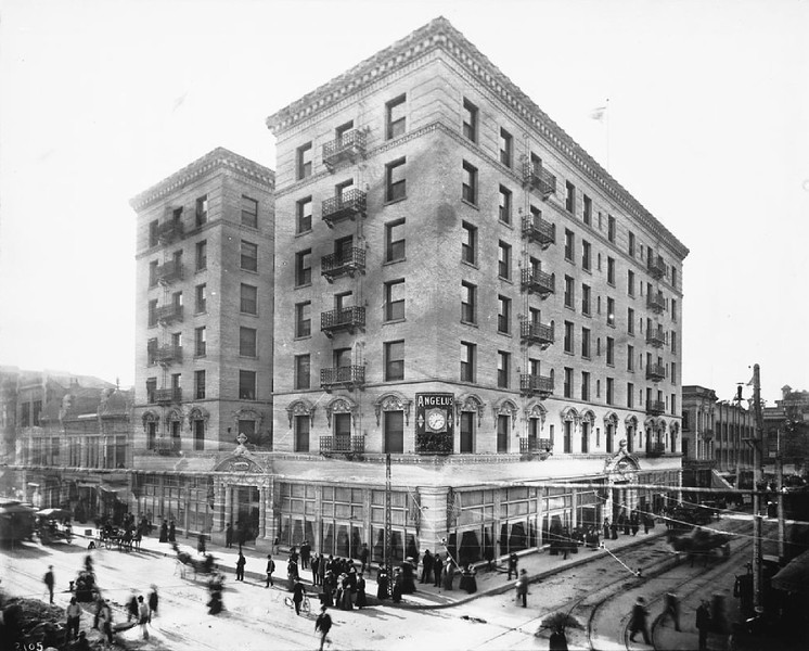 Exterior view of the Angelus Hotel, Fourth Street and Spring Street, Los Angeles, 1905